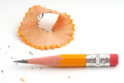 Pencil and pencil shavings studio isolated on white background