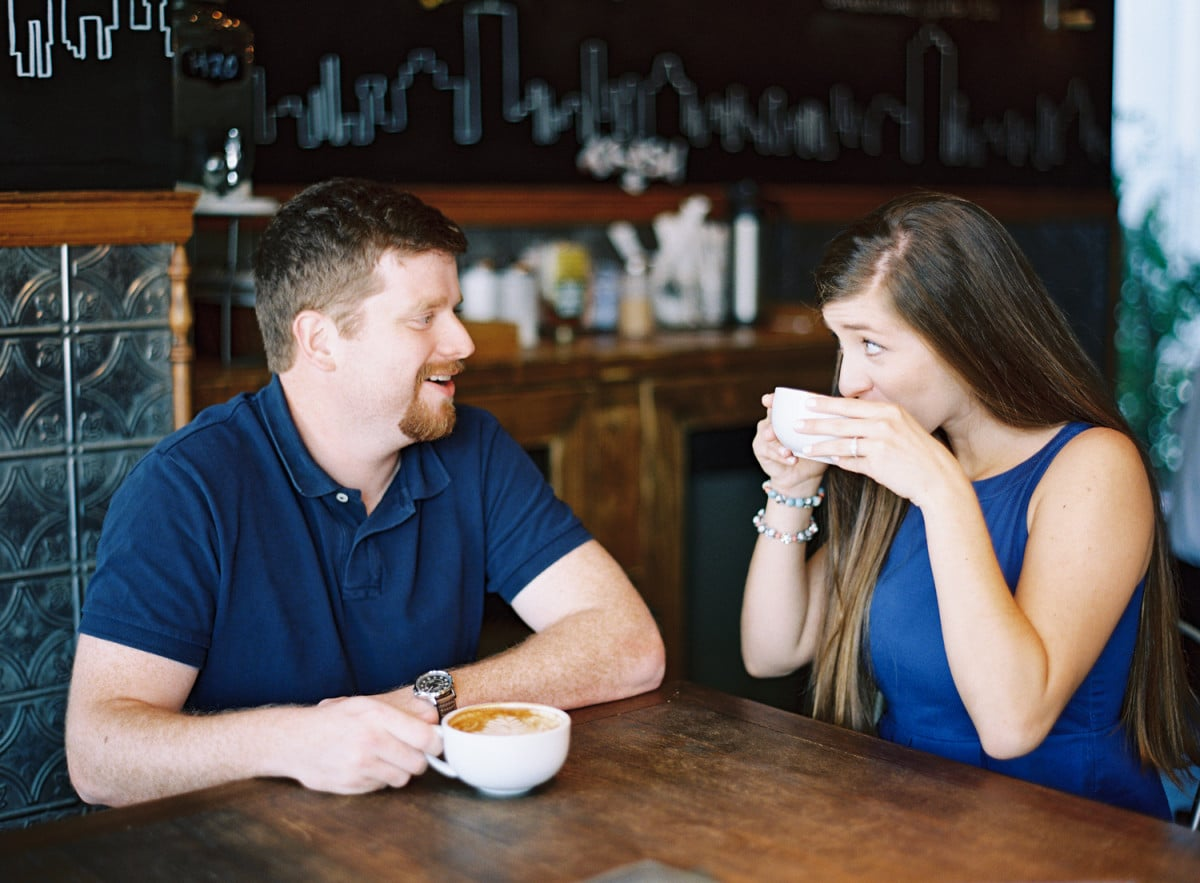 Coffee Shop engagement session by melaniegabrielle.com