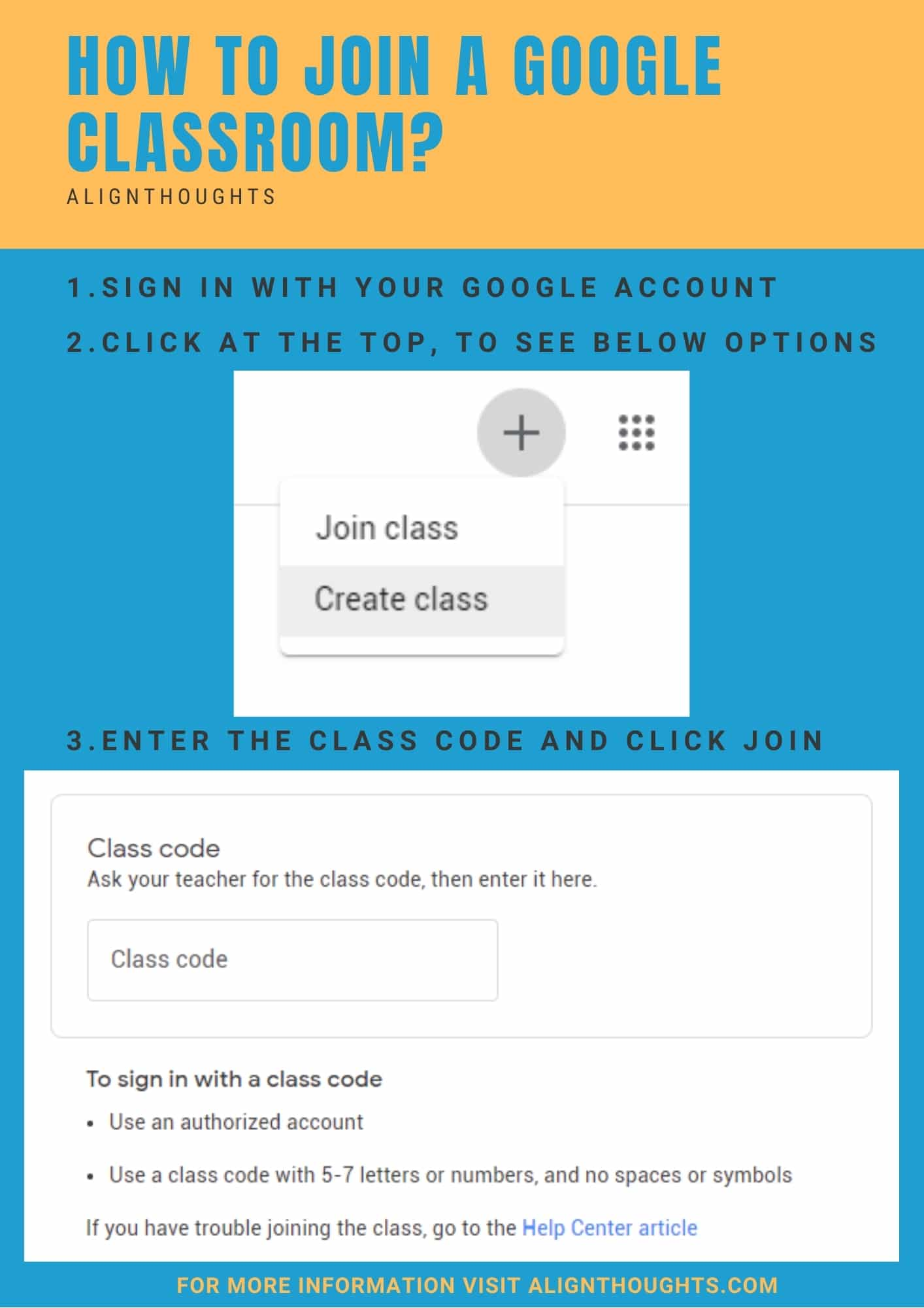 How do I join a Google classroom-poster-alignthoughts