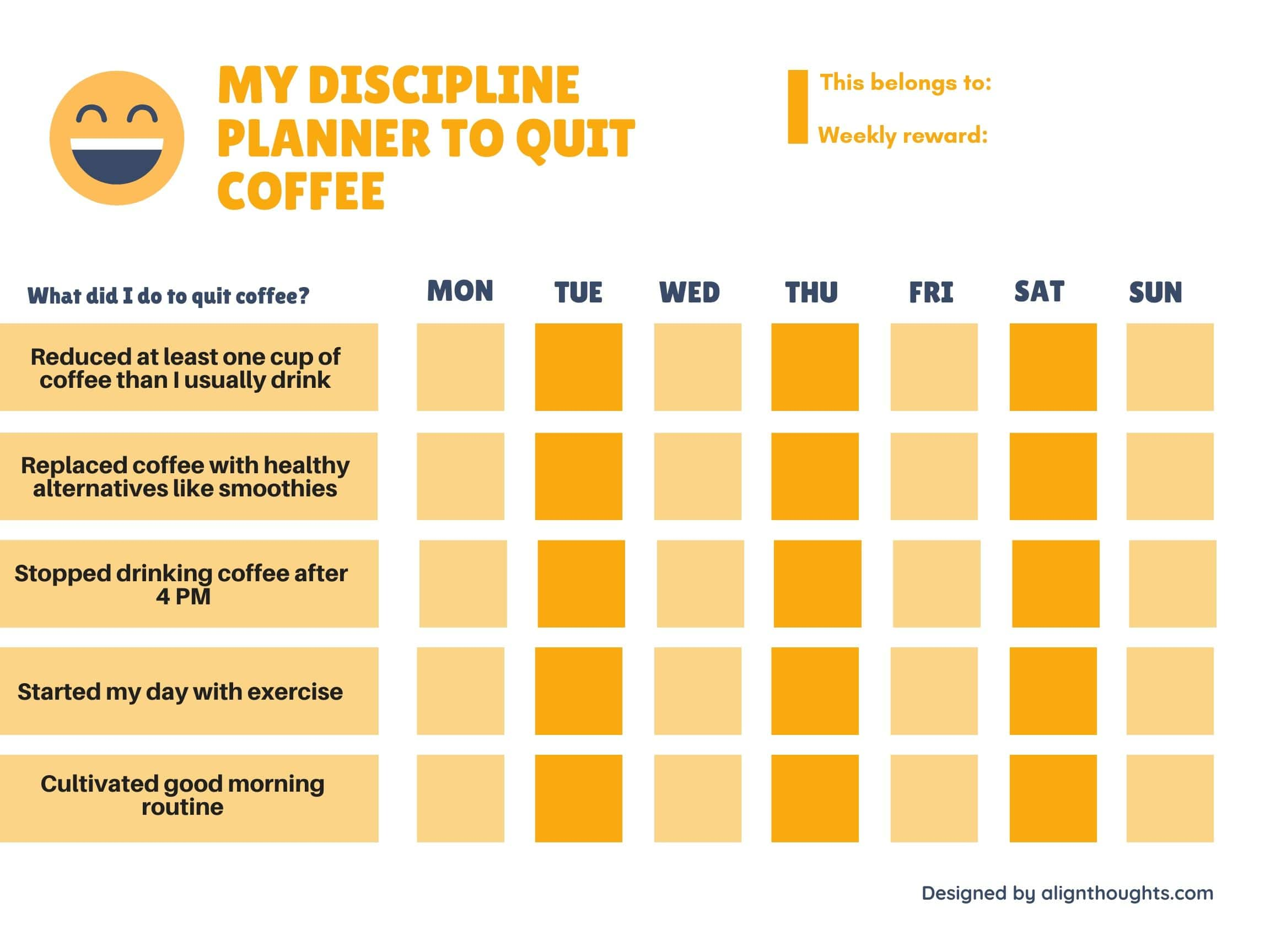 weekly planner to quit drinking coffee-alternatives to coffee