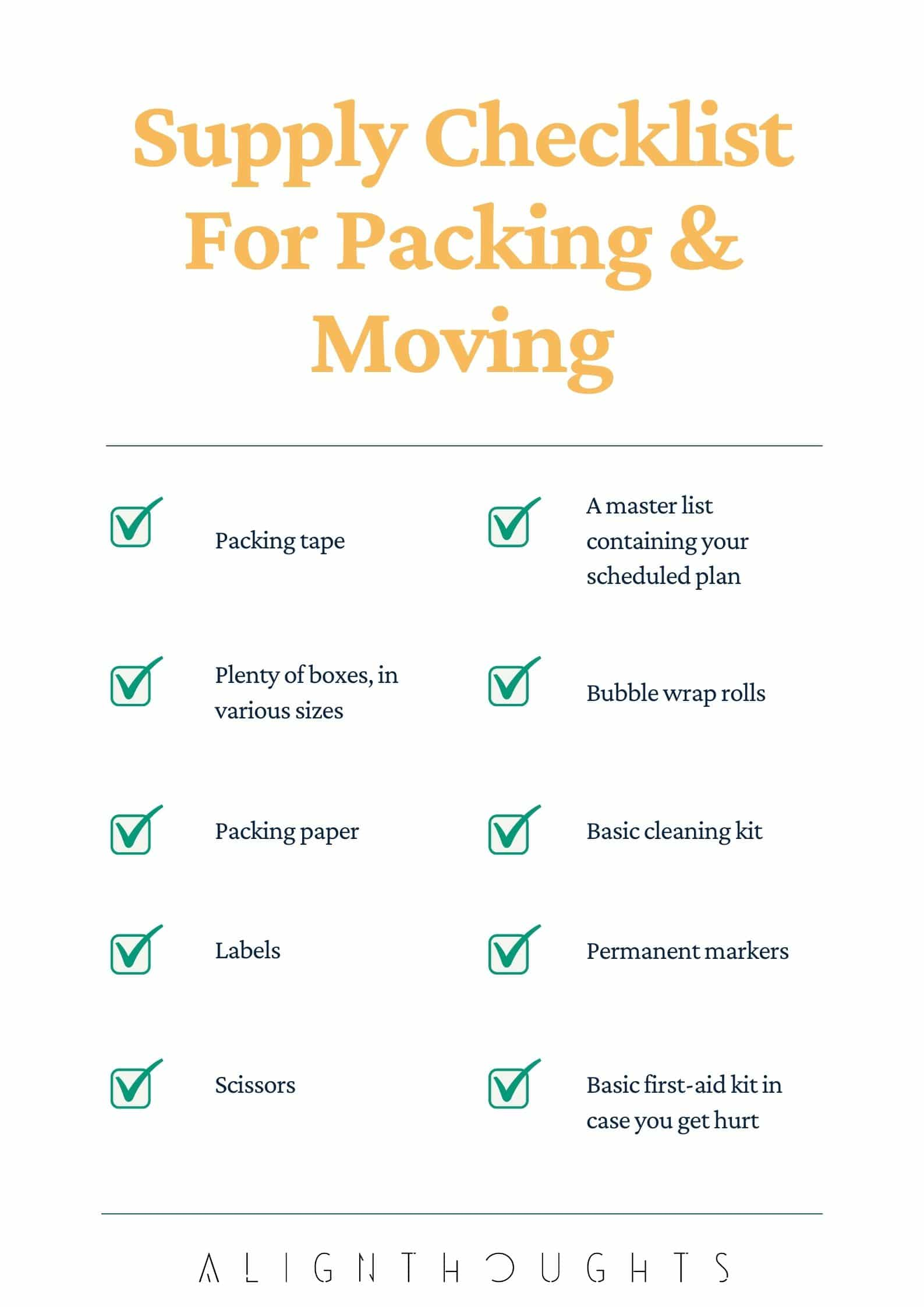 supply checklist for stress free packing and moving-alignthoughts